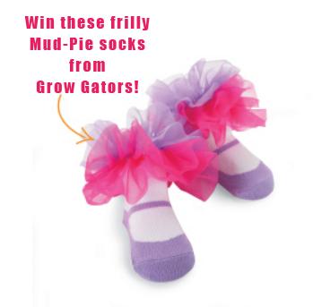 Mud-Pie socks Pink Purple frilly
