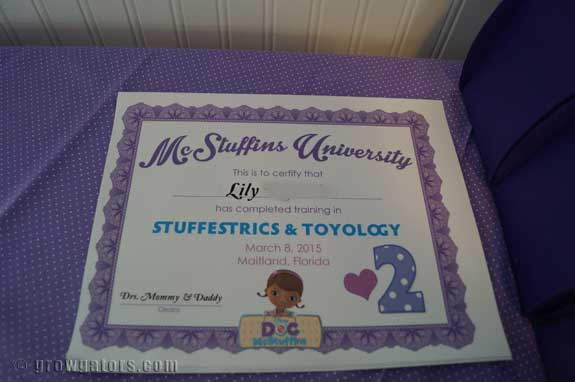 the doc is in celebrating a doc mcstuffins party grow gators a doc diploma for the graduates her friends certificates were signed by doc lily