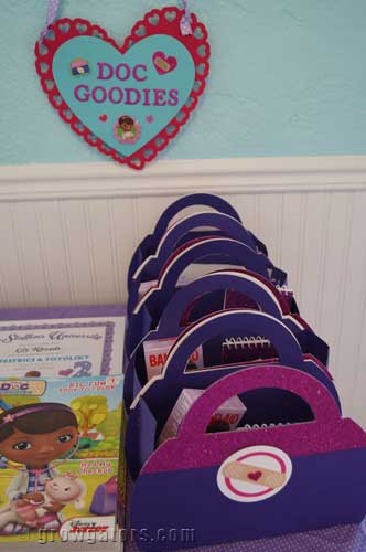 A close-up of the bags and sign.