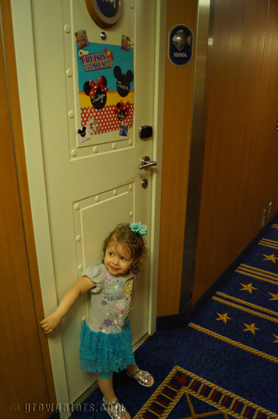 Our Stateroom door decoration-- it definitely made it easy for her to find our room.